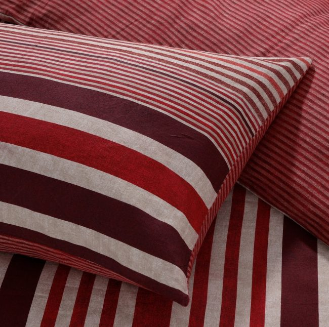 flannel stripe red duvet set