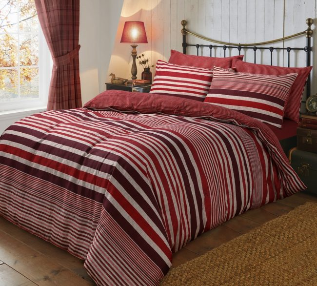 Flannel Stripe Red duvet
