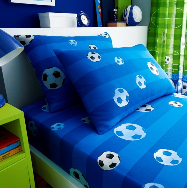 Goal Blue Single fitted sheet