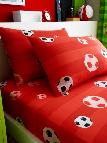 Goal Red Single fitted sheet