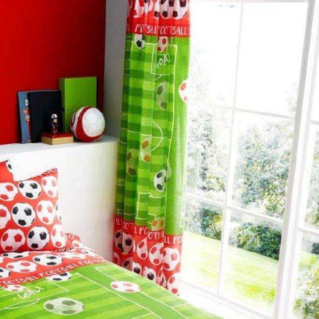 Goal Red Football Curtains