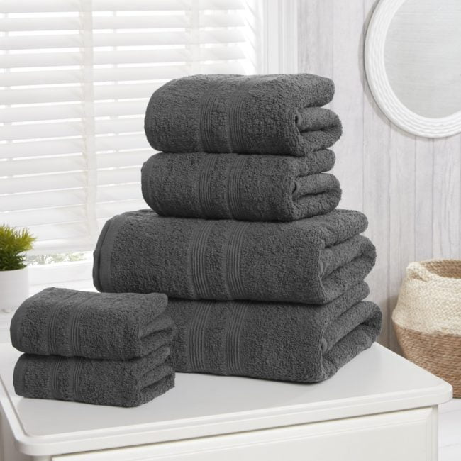 Camden 100% Cotton Towels Charcoal