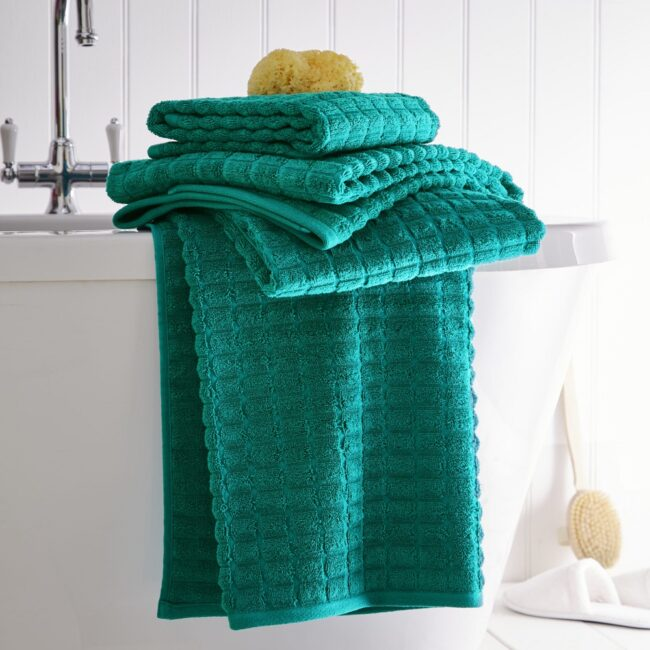 Geo Turquoise cotton towels.
