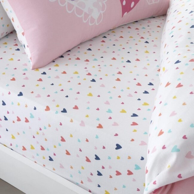 hearts pink fitted sheet