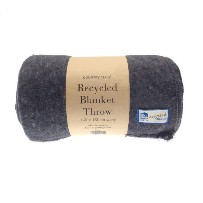 100% recycled grey blanket throw
