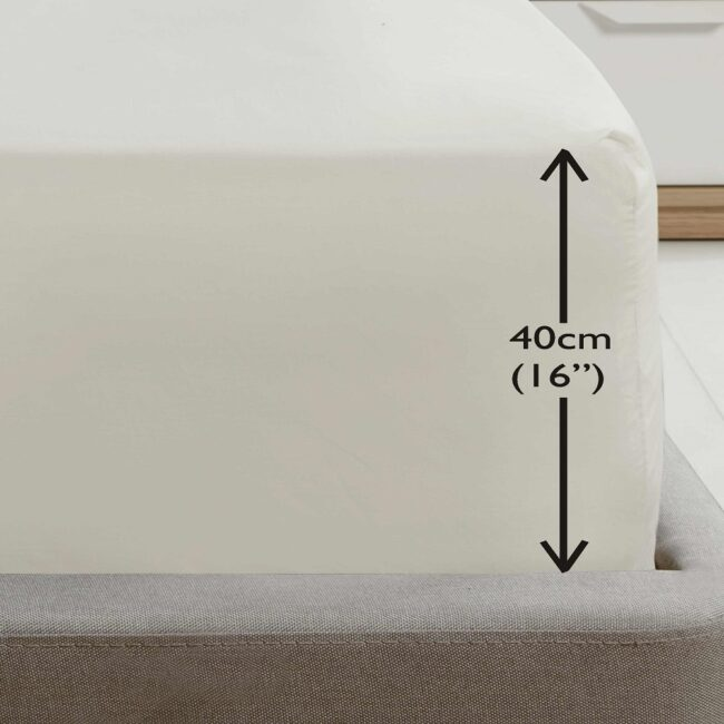 Deep fitted ivory sheet